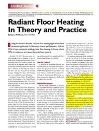 ASHRAE Journal: Radiant Floor Heating in Theory and Practice