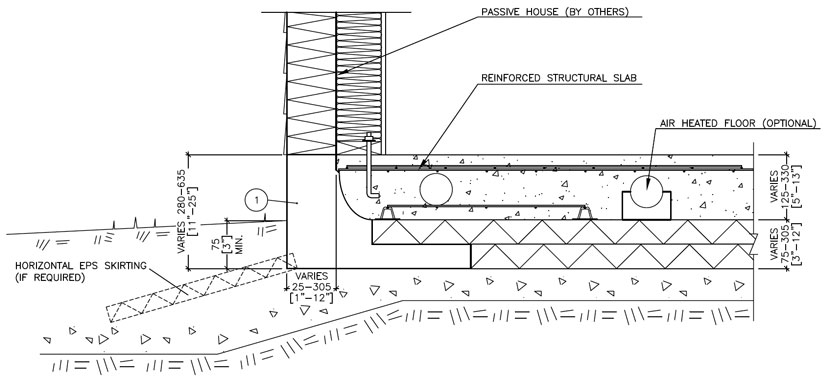 Passive House Technical Drawing with Reinforced Structural Slab and Air-Heated Floors