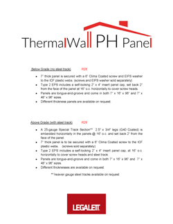 Technical Specifications for ThermalWall PH Panel - EPS Foam Insulation panels for ICF, Passive House and Net Zero Energy Designs - Legalett