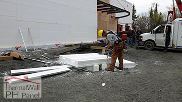 13. ThermalWall PH Passive House Insulated Wall Panels are easily cut with a chainsaw