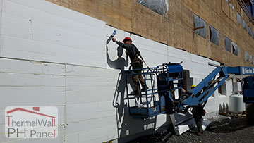2. Apply spray foam to the butt joints where the ThermalWall PH Passive House Insulated Wall Panel is to be installed