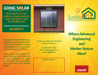 Legalett Tri-Fold Brochure for SunWall PH Panel Active Solar Heating Panels for Net Zero Energy Designs