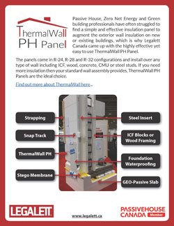 ThermalWall PH Panel - EPS Foam Insulation panels for ICF Construction, Passive House or Net Zero Energy, ZNE, or ZNEB Designs - by Legalett