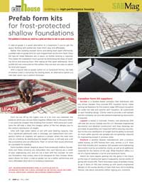 SAB Magazine article featuring Legalett in Prefab Form Kits for Frost Protected Shallow Foundations